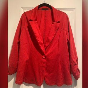 Red One-Button Blazer